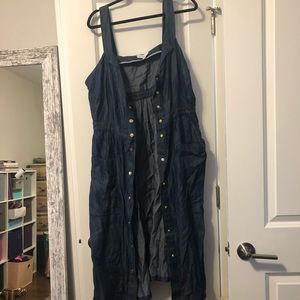Chambray button front tank dress